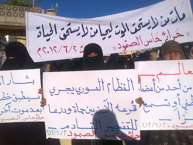 "Anti-war protest in Idlib. Syria, 2012. Banner translation: ""People who didn't deserve death have died so people who don't deserve life could live."""