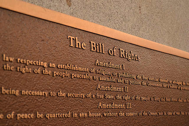 Photograph of a plaque featuring the United States Bill of Rights taken by Ted Mielczarek and published under a Creative Commons license