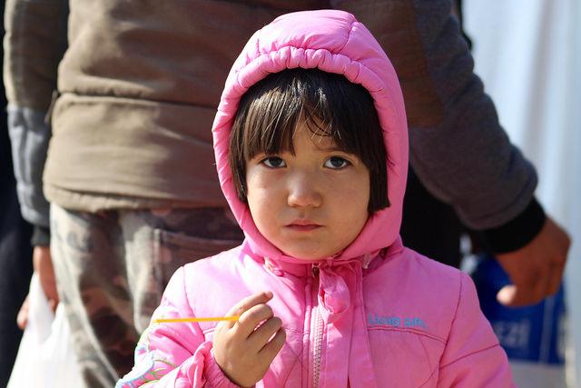 A child in Presevo refugee centre. Serbia, 2015.