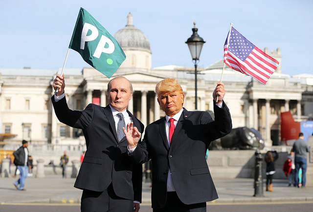 Presidents Vladimir Putin and Donald Trump arrived in London on horseback for Paddy Power, London, UK, 13th March 2017.