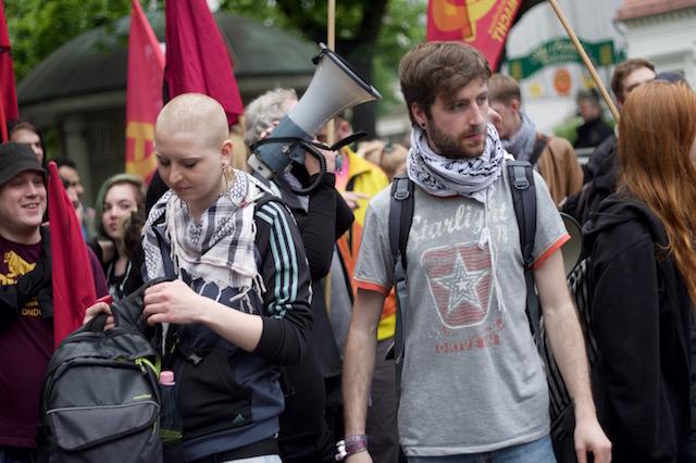 Preparing to march. Nakba Day 2017, Berlin.
