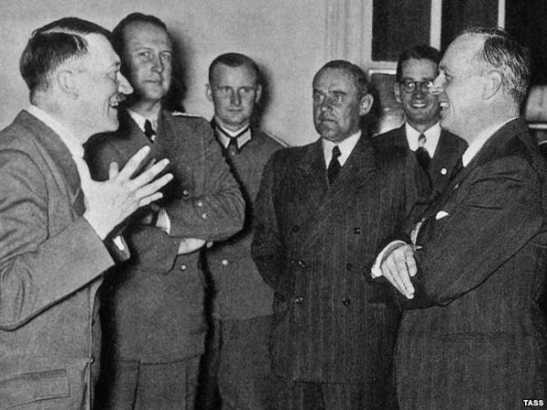 Ribbentrop (far right), with Hitler.