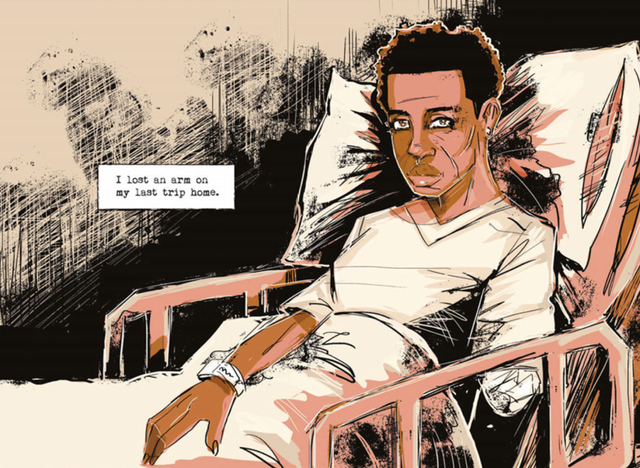 Image from graphic novel edition of Kindred by Octavia Butler