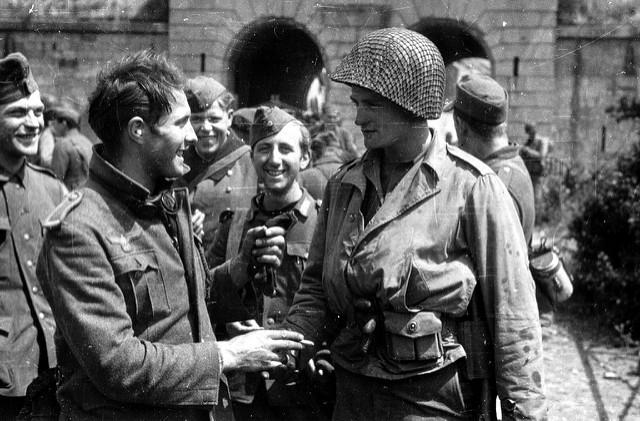Processing German prisoners. Cherbourg, June 1944