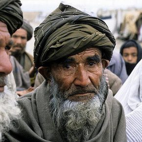 An elderly Afghan man at an International Red Cross distribution camp in Mazar-i-Sharif, where food was being provided by the UN World Food Programme.