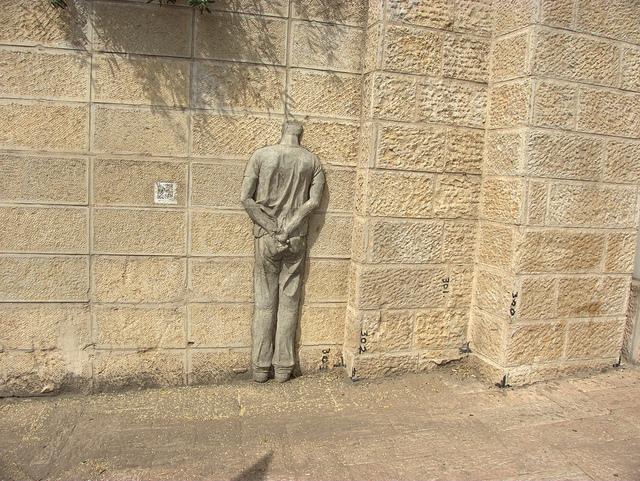 Handcuffed Palestinian installation. Jerusalem, 2012.