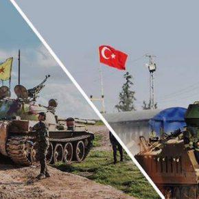 Kurdish T54 vs Turkish APC. Syria, 2017.