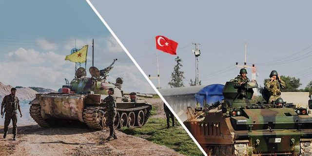 Kurdish T54 vs Turkish APC. Syria, 2017.